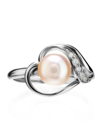 Classy Silver Ring With Pearl And Crystals, Ring Size: 6.5 / 17, image , picture 3